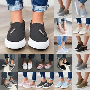 Women-Flats-Sneakers-Comfort-Canvas-Trainer-Shoe-Plimsolls-Slip-On-Loafers-Pumps