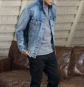 Uomo-Giubbotto-Jeans-Giacca-Denim-Giubbino-Corto-uomo-jeans-Mis-da-m-a-xxl