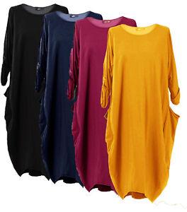 Nouveau-Femmes-Italien-Lagenlook-Coton-a-Manches-Longues-Robe-Tunique-Grande-Taille-14-30