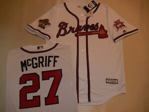 promo code b3a10 6bacd Details about 1995 Majestic Atlanta Braves FRED McGRIFF World Series  Baseball JERSEY New WHITE