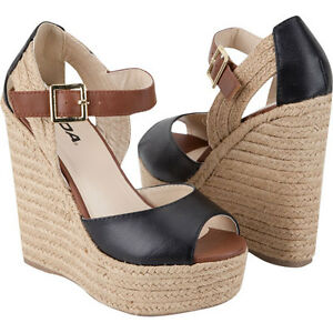899cc043241 Details about SODA ~ MULTI-COLOR ANKLE STRAP ESPADRILLE ~ WEDGE ~ BLACK /  BROWN VERY CUTE!