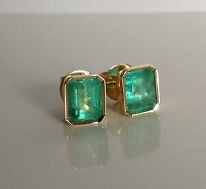 Image Is Loading 2 47ct Aaa Natural Green Colombian Emerald Stud