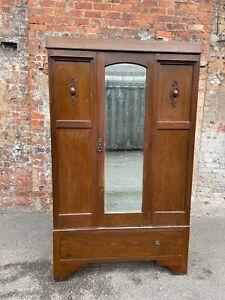 1930's EARLY 20TH CENTURY OAK DOUBLE WARDROBE WITH MIRRORED DOOR - OAK WARDROBE