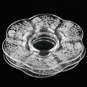Duncan-amp-Miller-Indian-Tree-Plates-Set-4-Salad-Vintage-Etched-Elegant-Glass