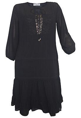 Rick Cardona Designer Chiffonkleid schwarz Gr 36 bis 44 Kleid Abendkleid