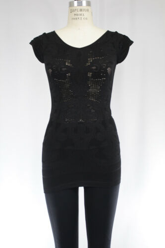 New Free People Womens Seamless Ruffle Short Sleeve Cutout Top M//L Black $28