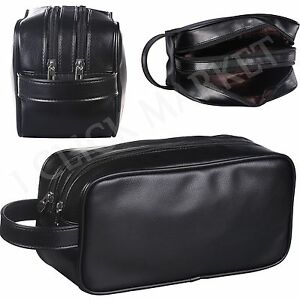 c4acb9a32a Image is loading Leather-Toiletry-Bag-Man-Shaving-Accessory-Lady-Supply-