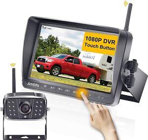 AMTIFO A8 FHD 1080P RV Wireless Backup Camera with 7'' Touch Key DVR Split Rear
