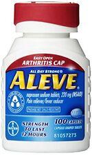 2 Pack Aleve Pain Reliever/Fever Reducer w/Easy Open Arthritis Cap 100 Caps Each