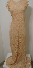 Vintage Sheer Peach Lace Talon Back Zip Accent Back Bias Cut Delicate Long Dress