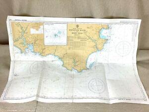 1986 Vintage Marittimo Mappa Eddystone Rocks Cornwall Bacca Testa Ammiragliato