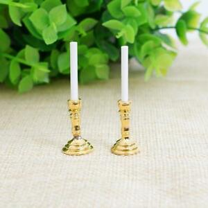 DIY-Mini-Gold-Candlesticks-White-Candles-Doll-House-Miniature-1-Pair-Decor-1-12
