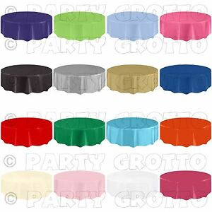 Amscan-Plastico-Redondo-tablecovers-Mantel-CUBIERTA-Catering-Eventos-19-Colores