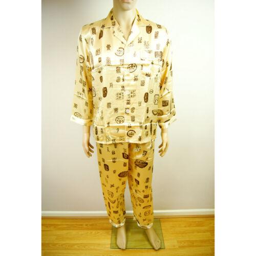 Chinese Emperor Gold Lucky Symbols Oriental Mens Martial Kung Fu Pyjamas Pajamas