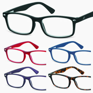 New-READING-GLASSES-Soft-touch-Recangular-BLACK-Red-Blue-Purple-1-0-1-5-2-2-50-3