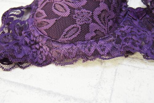 Women/'s Lace Thin Padded Underwire Demi Plunge Push Up Bra 32-42  Black Bra BH