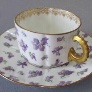 Antique LIMOGES Porcelain Demitasse Cup + Saucer Delicate VIOLETS * GILT Trim