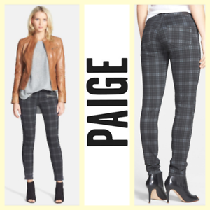 Paige  260 'Indio Zip' charcoal Canterbury plaid stretch skinny ankle jeans28