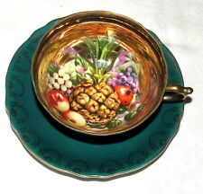 Royal Sealy Japan Cup & Saucer - Lots of Gold with Green & Fruit Decoration