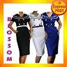 RK43 Vintage Sailor Pencil Cotton Dress Rockabilly Work Pin Up BLACK WHITE NAVY