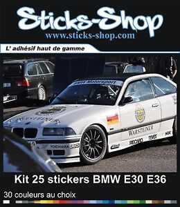 kit 25 stickers pour bmw m3 e30 e36 warsteiner motorsport gtr decals pegatinas ebay. Black Bedroom Furniture Sets. Home Design Ideas