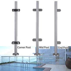 High-Glass-Balustrade-Railing-Glazing-Stainless-Steel-Pole-Handrail-Garden-110cm