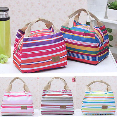 Thermal Insulated Portable Cool Canvas Stripe Lunch Totes Bag Carry Case Picnic
