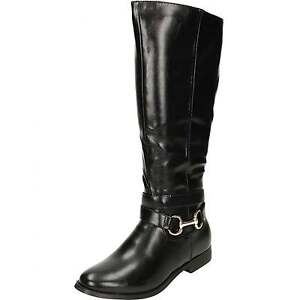 e0ab4031b10c Details about Ladies Black Flat Faux Leather Knee Buckle Strap Shiny Boots