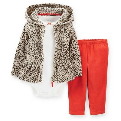 NWT Carters Baby Girls 3 Piece Cardigan bodysuit pant Set 6 9 12 18 24 months