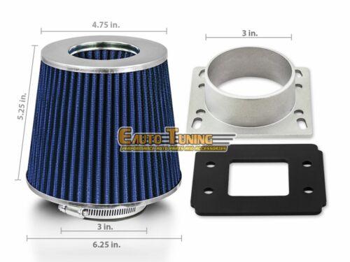 Mass Air Flow Sensor Intake Adapter BLUE Filter For 91-94 Sentra 1.6L 2.0L L4