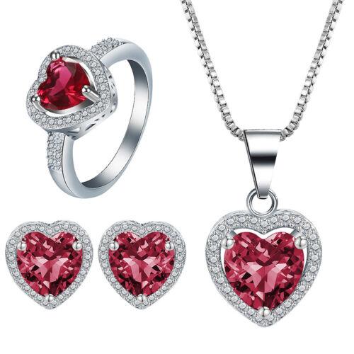 925 Sterling Silver Topaz Gemstone Pendant Ring+Earrings Necklace Jewelry Set