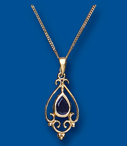 Saphir Anhänger Gelbgold Halskette Viktorianisch Design