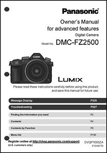 panasonic lumix dmc fz2500 advanced camera user guide instruction rh ebay com Glossary for Panasonic DMC-TZ3 Panasonic DMC- TZ5