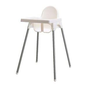 """IKEA Kinderhochstuh<wbr/>l MIT Tablett """"Antilop"""" Babystuhl mit Sicherheitsgur<wbr/>t WEISS"""