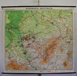 Wall Map North Rhine Westphalia 1967 189x175 Ruhr Solingen Hoxter