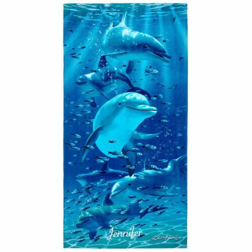 "30/"" x 60/"" Kaufman Sales Personalized Twister Dolphins Beach Towel 106062"