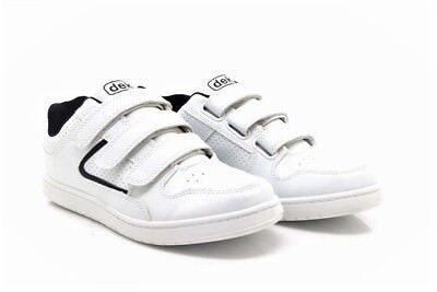 Dek CHARING T247 CROSS Touch Fasten Wide Fit Trainers White//Navy Blue PVC