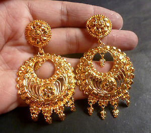 Image Is Loading 22k Gold Plated Chand Bali Kundan Jhumka Earrings
