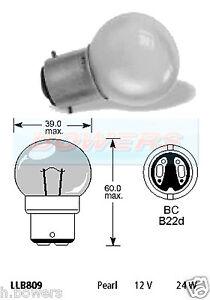 LUCAS LLB809 12V VOLT 24W BC B22D DOUBLE CONTACT PEARL LIGHT BULB BAYONET FIT