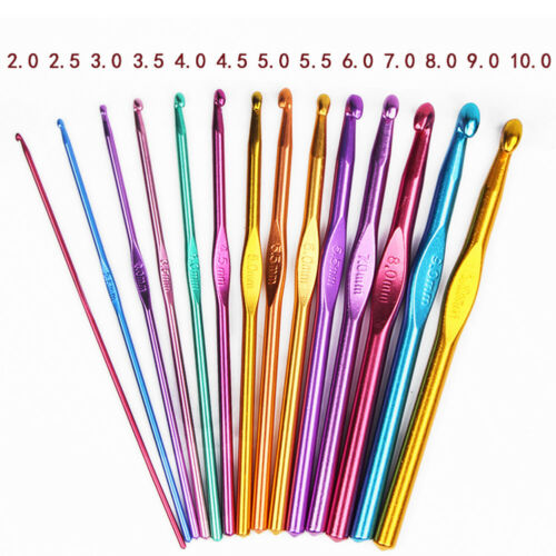 1pc sizes 2mm to 10mm Metal Crochet Hooks Knitting Needles Weave Sewing Kits