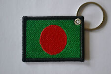BANGLADESH FLAG EMBROIDERY KEYRING EMBROIDERED PATCH BADGE KEY CHAIN CHROME RING