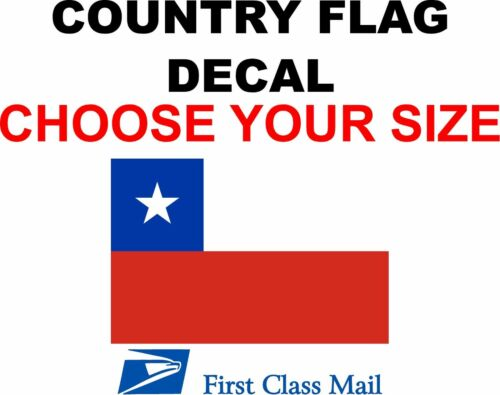 STICKER 5YR VINYL STATE FLAG CHILE COUNTRY FLAG DECAL