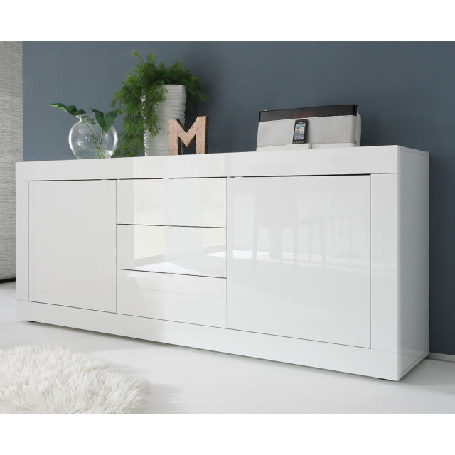 sideboard basic wohnzimmer kommode wei lackiert breite 210 cm ebay. Black Bedroom Furniture Sets. Home Design Ideas