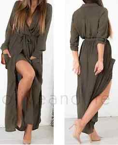 Womens-Ladies-Maxi-Chifon-Shirt-Dress-8-10-Khaki