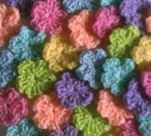 Foxy-Flowers-20-Hand-Crochet-Applique-Flowers-Spring-Shades-3-5cm-crafts