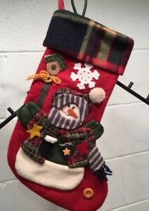 image is loading rustic country christmas stocking snowman plaid fleece cuff - Country Christmas Stockings