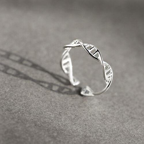 Schmaler Silberringe Biologie Genomics DNA 925 Sterling Silber Ring Damen A3278