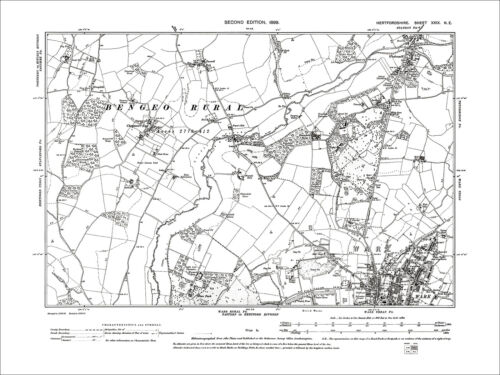 Chapmore End N Wadesmill 1899: 29NE Old Map Hertfordshire Ware
