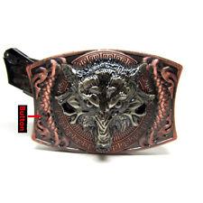 Western Wolf Moon Men's Alloy Leather Belt Buckle Vintage Cowboy Buckle  NGNWUS
