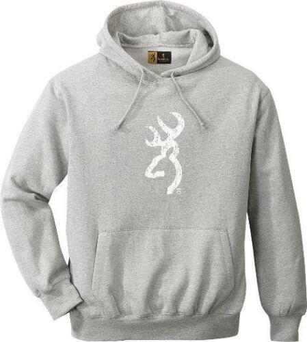 Browning GRAY GREY Pull-Over HOODIE// White BUCKMARK *Heavyweight Sweatshirt NEW